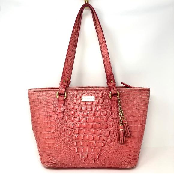 050fbba94fa9 Brahmin Handbags - Brahim Pink Leather Croc Tote Shoulder Bag